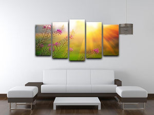 Landscape with Fireweed at sunny summer 5 Split Panel Canvas  - Canvas Art Rocks - 3