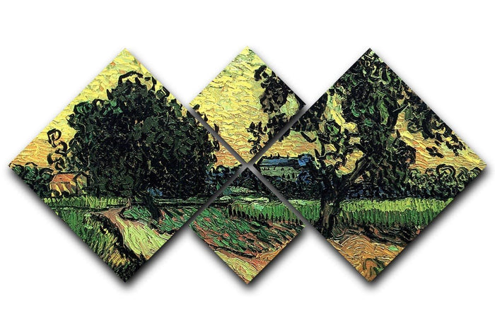 Landscape with the Chateau of Auvers at Sunset by Van Gogh 4 Square Multi Panel Canvas