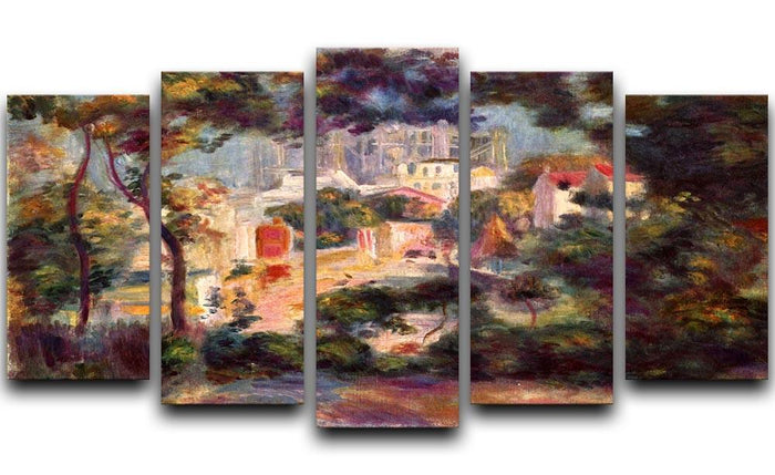 Landscape with the view of Sacre Coeur by Renoir 5 Split Panel Canvas