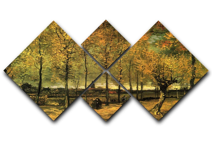 Lane with Poplars by Van Gogh 4 Square Multi Panel Canvas