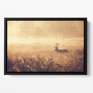 Large red deer stag silhouette in autumn mist Floating Framed Canvas - Canvas Art Rocks - 2