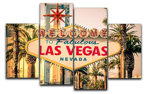 Las Vegas Welcomes You 4 Split Panel Canvas  - Canvas Art Rocks - 1
