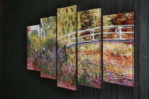 Le Bassin aux Nympheas by Monet 5 Split Panel Canvas - Canvas Art Rocks - 2