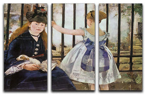 Le Chemin de fer 1873 by Manet 3 Split Panel Canvas Print - Canvas Art Rocks - 1