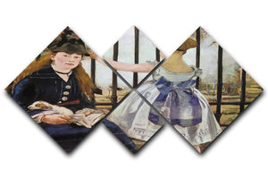 Le Chemin de fer 1873 by Manet 4 Square Multi Panel Canvas  - Canvas Art Rocks - 1