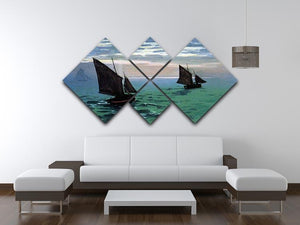 Le Havre exit the fishing boats from the port by Monet 4 Square Multi Panel Canvas - Canvas Art Rocks - 3