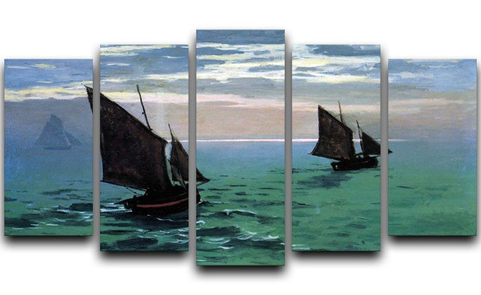 Le Havre exit the fishing boats from the port by Monet 5 Split Panel Canvas