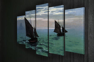 Le Havre exit the fishing boats from the port by Monet 5 Split Panel Canvas - Canvas Art Rocks - 2
