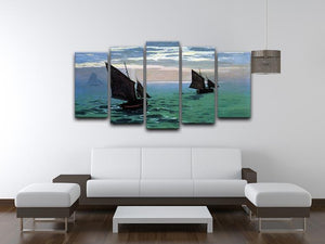 Le Havre exit the fishing boats from the port by Monet 5 Split Panel Canvas - Canvas Art Rocks - 3