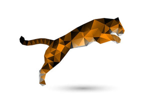 Leaping tiger from polygons Wall Mural Wallpaper - Canvas Art Rocks - 1