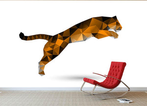 Leaping tiger from polygons Wall Mural Wallpaper - Canvas Art Rocks - 2