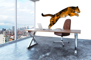 Leaping tiger from polygons Wall Mural Wallpaper - Canvas Art Rocks - 3