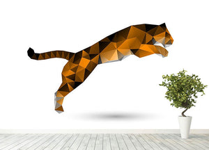 Leaping tiger from polygons Wall Mural Wallpaper - Canvas Art Rocks - 4