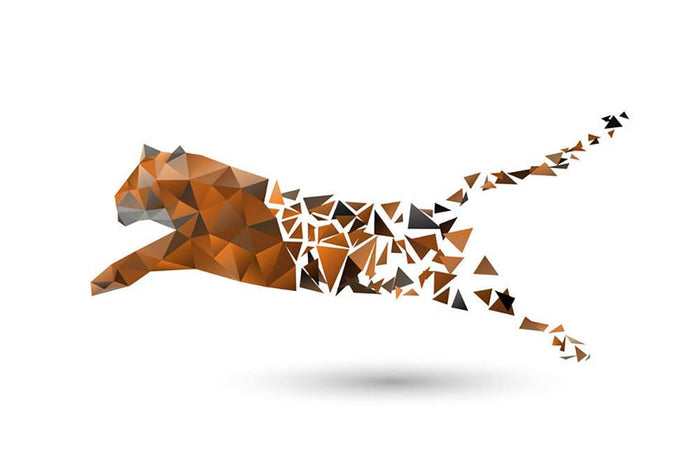 Leaping tiger made from polygons Wall Mural Wallpaper