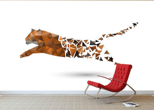 Leaping tiger made from polygons Wall Mural Wallpaper - Canvas Art Rocks - 2