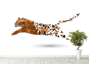 Leaping tiger made from polygons Wall Mural Wallpaper - Canvas Art Rocks - 4