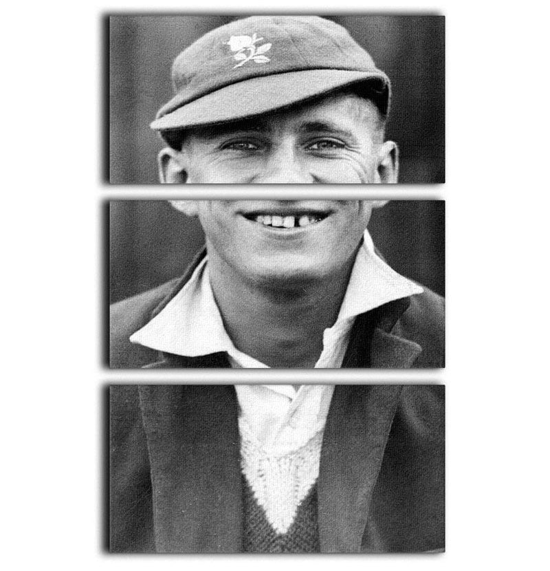 Len Hutton cricketer 3 Split Panel Canvas Print - Canvas Art Rocks - 1