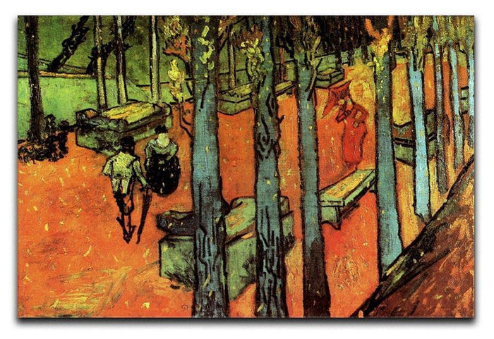 Les Alyscamps Falling Autumn Leaves by Van Gogh Canvas Print or Poster
