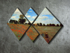 Les Coqueliquots 4 Square Multi Panel Canvas - Canvas Art Rocks - 2