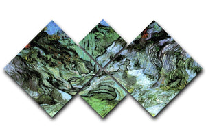 Les Peiroulets Ravine 2 by Van Gogh 4 Square Multi Panel Canvas  - Canvas Art Rocks - 1