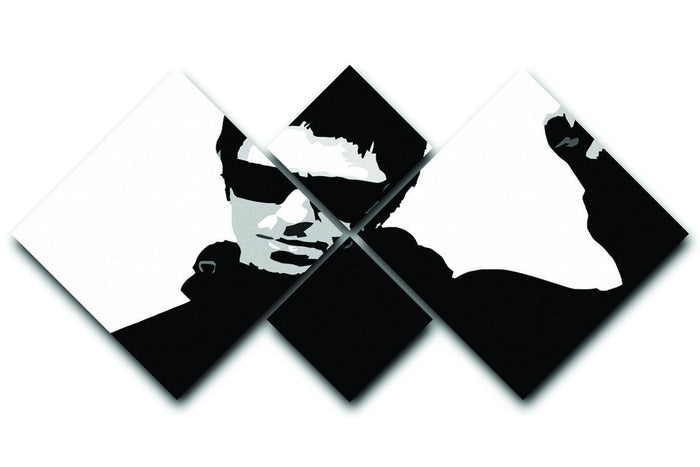 Liam Gallagher Black and White 4 Square Multi Panel Canvas