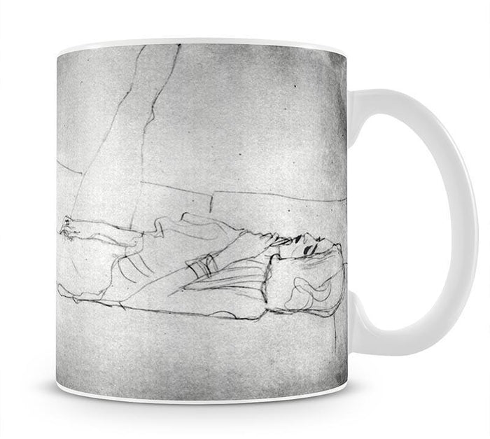 Liegender female with right leg by Klimt Mug