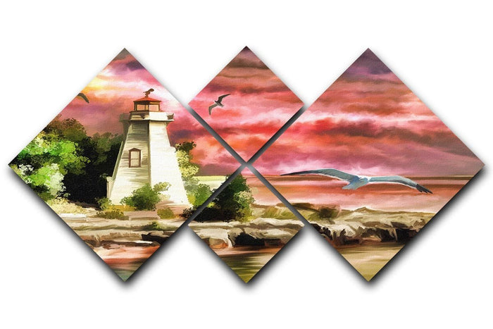 Lighthouse 4 Square Multi Panel Canvas
