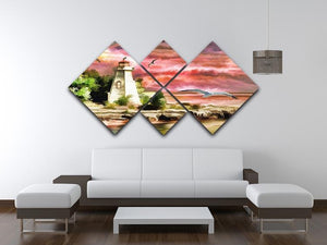Lighthouse 4 Square Multi Panel Canvas - Canvas Art Rocks - 3