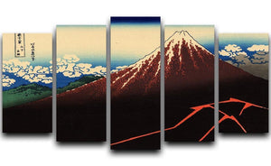 Lightning below the summit by Hokusai 5 Split Panel Canvas  - Canvas Art Rocks - 1