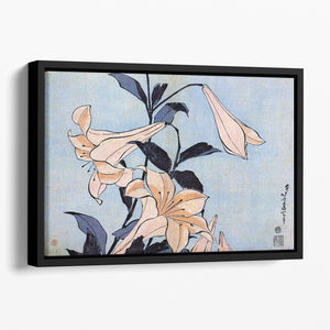 Lilies by Hokusai Floating Framed Canvas