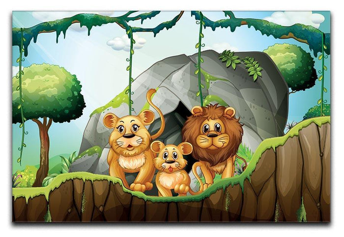 Lion family living in the jungle Canvas Print or Poster