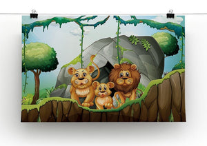 Lion family living in the jungle Canvas Print or Poster - Canvas Art Rocks - 2