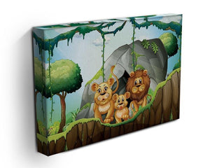 Lion family living in the jungle Canvas Print or Poster - Canvas Art Rocks - 3