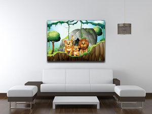 Lion family living in the jungle Canvas Print or Poster - Canvas Art Rocks - 4