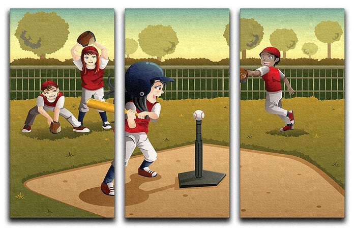 Little kids playing Tee ball 3 Split Panel Canvas Print