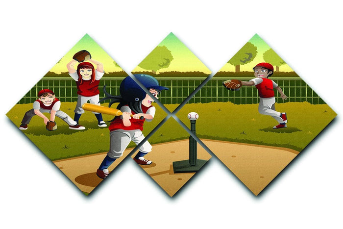 Little kids playing Tee ball 4 Square Multi Panel Canvas
