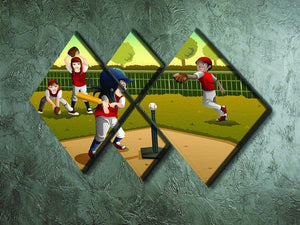 Little kids playing Tee ball 4 Square Multi Panel Canvas - Canvas Art Rocks - 2