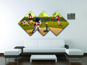 Little kids playing Tee ball 4 Square Multi Panel Canvas - Canvas Art Rocks - 3