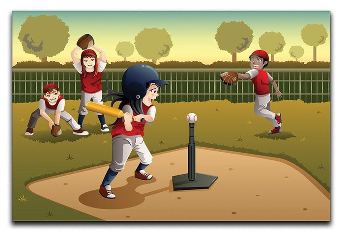 Little kids playing Tee ball Canvas Print or Poster