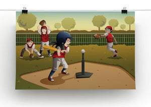 Little kids playing Tee ball Canvas Print or Poster - Canvas Art Rocks - 2