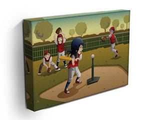 Little kids playing Tee ball Canvas Print or Poster - Canvas Art Rocks - 3