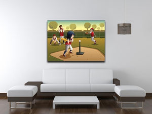 Little kids playing Tee ball Canvas Print or Poster - Canvas Art Rocks - 4