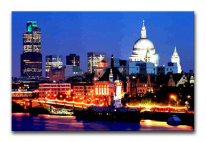 London Skyline at Night Print - Canvas Art Rocks - 1