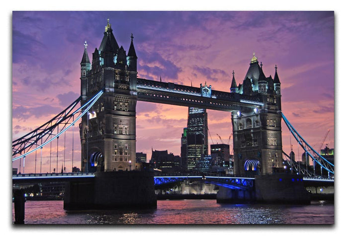London Bridge Pink Sunset Canvas Print or Poster