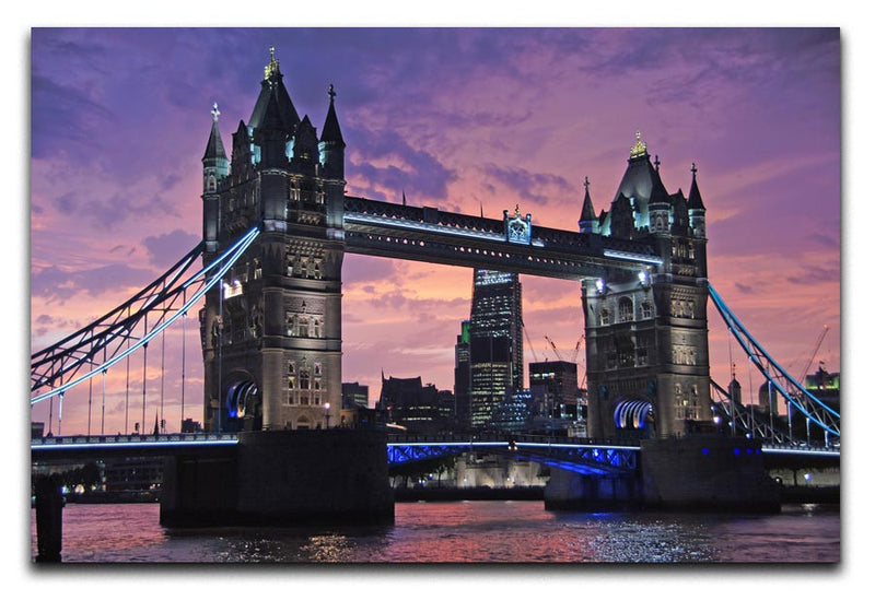 London Bridge Pink Sunset Print - Canvas Art Rocks - 1