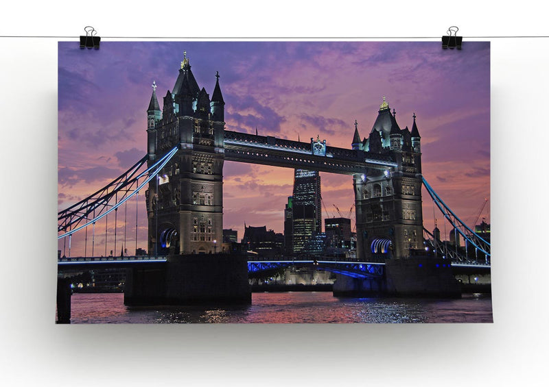 London Bridge Pink Sunset Print - Canvas Art Rocks - 2