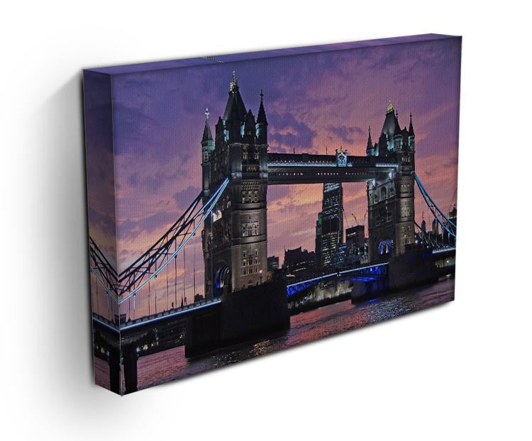 London Bridge Pink Sunset Print - Canvas Art Rocks - 3