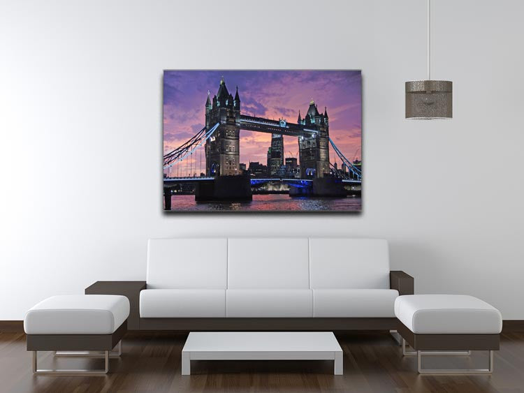 London Bridge Pink Sunset Print - Canvas Art Rocks - 4