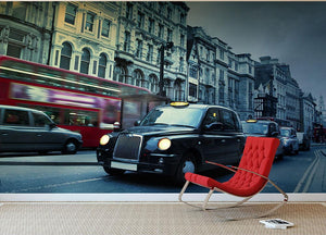 London Street Taxis Wall Mural Wallpaper - Canvas Art Rocks - 2