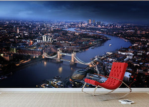 London aerial view with Tower Bridge Wall Mural Wallpaper - Canvas Art Rocks - 2